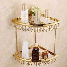 Роскошная золотая полированная твердая латунная угловая корзина 2 слоя античное покрытие полка аксессуары для ванной комнаты настенный HW