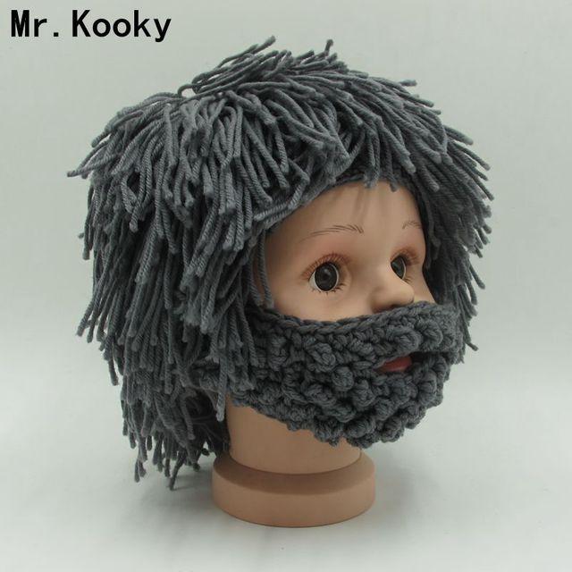 9c47bcef49b Mr.Kooky Wig Beard Hats Hobo Rasta Caveman Handmade Knitted Warm Winter Caps  Baby Boy Girl Halloween Gift Funny Children Beanies