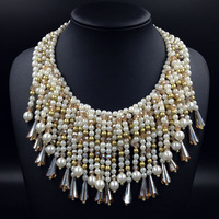 Fashion Luxury Designer Jewelry Crystal Pearl Multi Layered Tassels Chunky Statement Bib Pendant Chain Choker Necklace