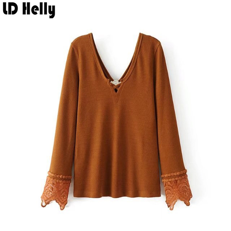 LD Helly Fashion Autumn Women Lace Patchwork Blouse 2017 New Sexy Deep V Neck Bottoming Shirts Female Cozy Tops Blusas Feminina