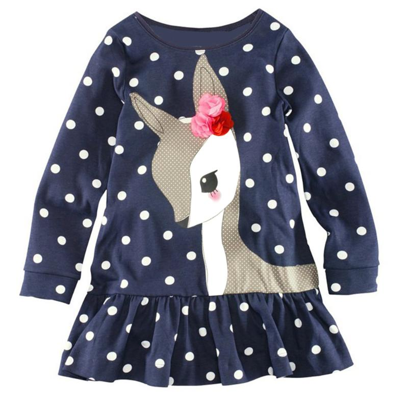 New Year Dresses for Girls Cartoon Deer Children Winter Dress Long Sleeve Tunic Dot Print Children Tops Clothes 3