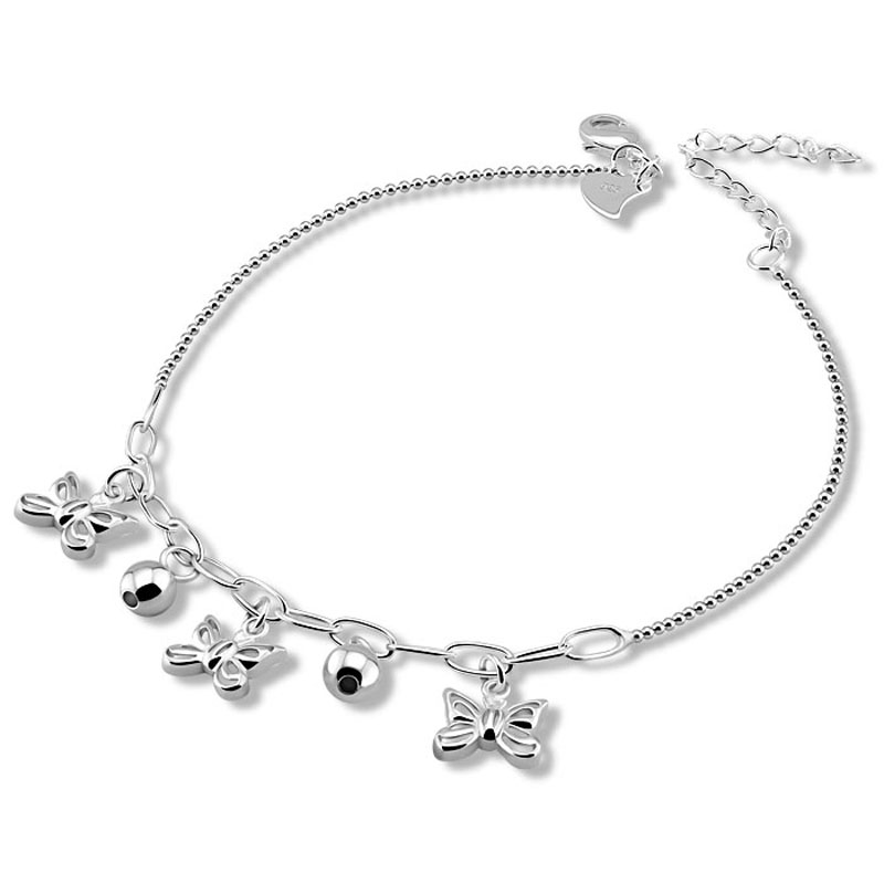 925 sterling silver fashion anklets Women are solid silver butterfly anklets 28 cm bell pendant anklets