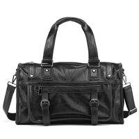 Luxury Brand Men Travel Bag Leather Casual Male Laptop Handbag Vintage Shoulder Bag Men Tote Messenger Luggage Duffel Travel Bag