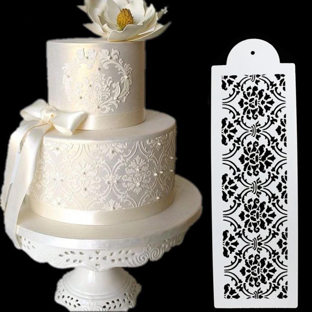 Birthday Lace Border Cake Side Stencil Sugarcraft Wedding Cake Stencil Plastic Cookie Fondant Cake Tool Christmas Cake Molds Aliexpress