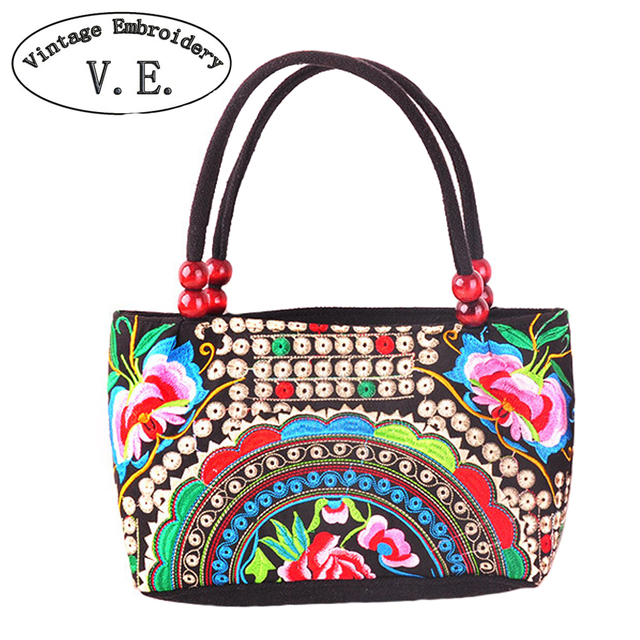 Vintage Embroidery Bags Women Double Faced Flower Embroidered Shoulder Bag Small Clutch Wood Beads Handbag Bolsas De Ombro