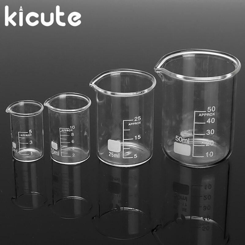 Kicute 4Pcs 5ml 10ml 25ml 50ml Glass Transparent Beaker Set Graduated Borosilicate Glass Beaker School Laboratory Study Supplies