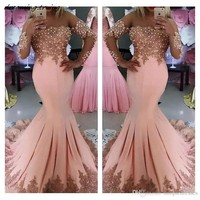 Long Sleeves Sexy Mermaid Light Pink Evening Dresses Sheer Neck Pearls Ladies Formal Party Gowns Prom Dress robe de soiree 2018