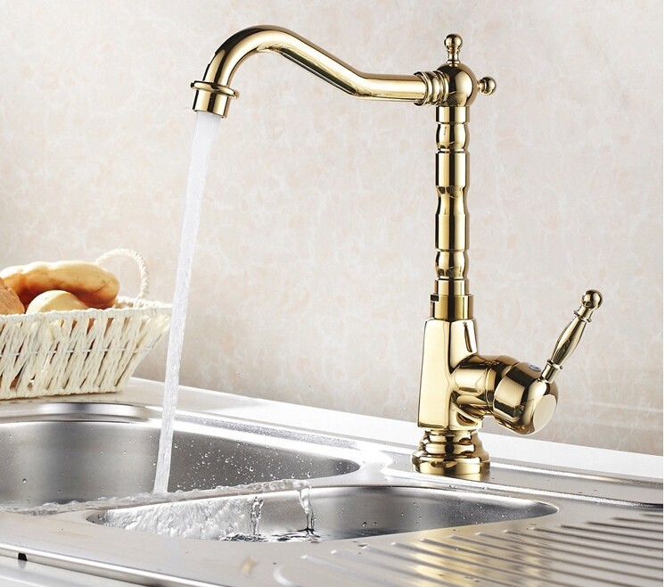 new arrival High quality gold finish single lever brass hot and cold kitchen faucet