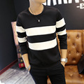 2017 men long sleeve T-shirt In the fall of the new round collar collar stripe T-shirt