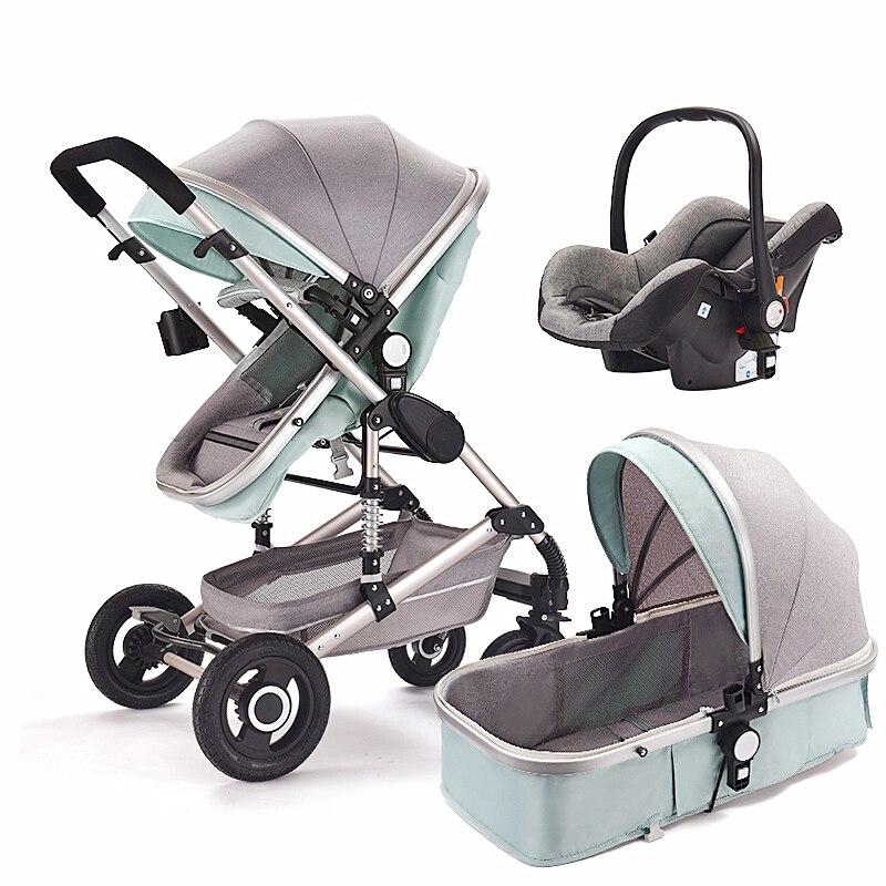 Poussette bébé multifonction 3 en 1 poussette bébé haut paysage poussette pliante landau or poussette bébé nouveau-né poussette