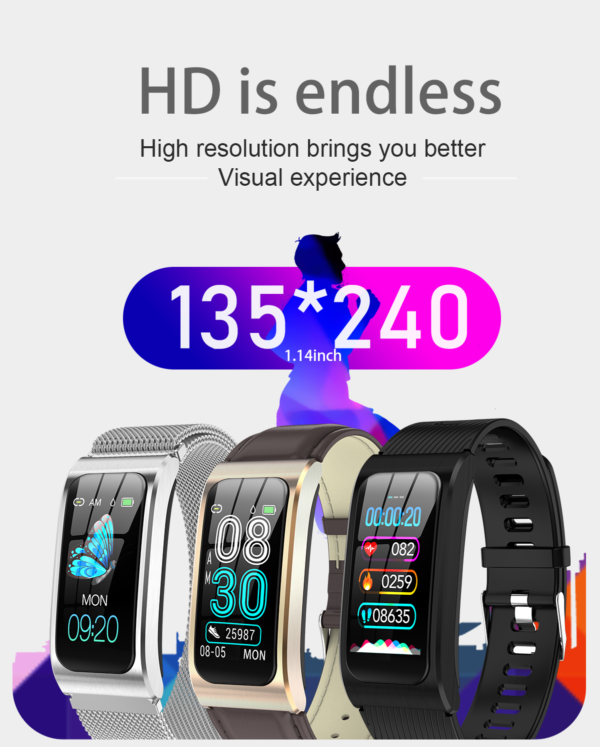 """Smartwatch 1,14"""" IP68 impermeable Android IOS 3"""