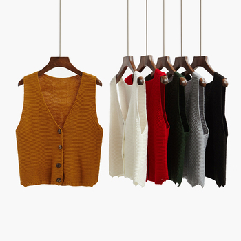 2018 autumn cardigan short design sweater vest outerwear loose sleeveless sweater vest thin female spring and autumn