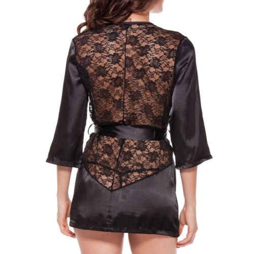 5654ecb33f595 ... Women Ladies Floral Silk Lace Babydoll Nightie G-String Pant Set Long  Sleeve Nightgown Sleepwear ...