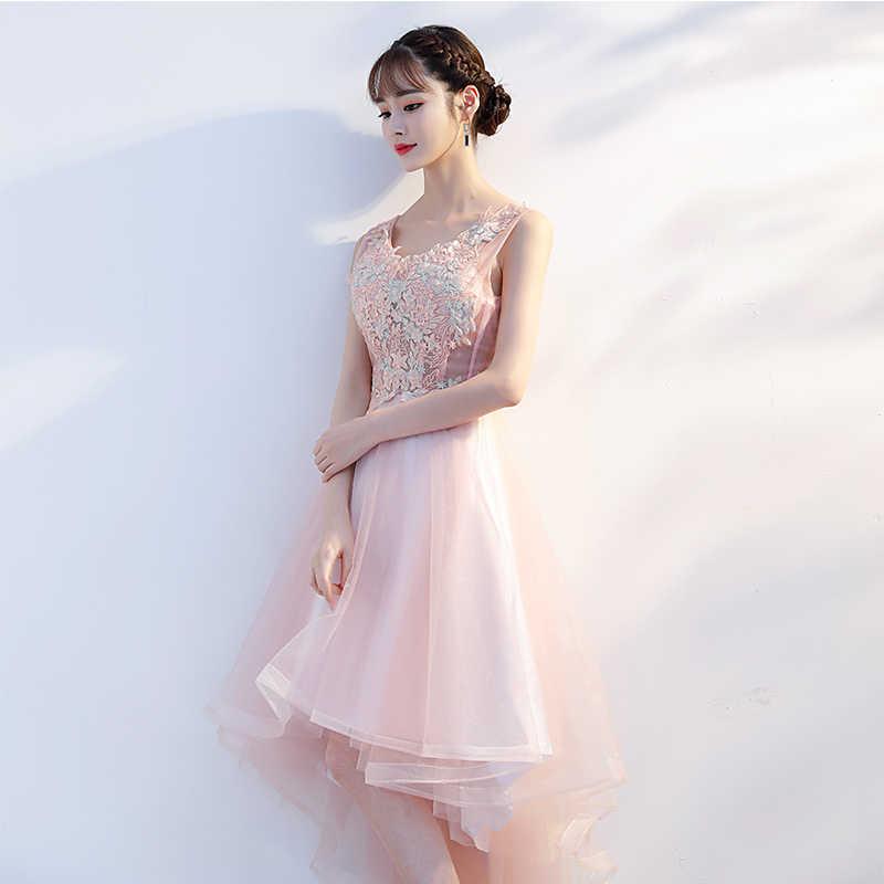 a4a89836d ... Vestidos De Fiesta color rosa frente corto largo espalda De encaje  apliques Línea A Scoop Vestido ...