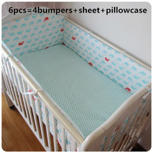 Promotion! 6pcs Crib Bedding Baby Bedding Set Baby Nursery Crib Bumper  ,include(bumpers+sheet+pillow cover)