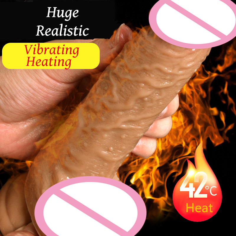 Sex Shop Realistic Heating Huge Dildo Vibrator With Suction Cup Male Artificial Penis Soft Dick Sex Toys For Woman Masturbator sex shop soft silicone huge realistic dildo with suction cup male artificial anal butt plug dick masturbator sex toys for women