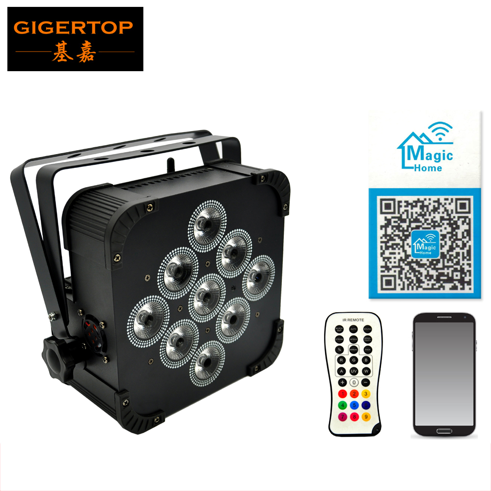 TP-G3039-6IN1 9*18W 6IN1 RGBWA UV Wireless Battery Power Flat Led Par DMX512 6/10Chs Battery 8 Hours Work Flat Led Par Phone App ld7530pl ld7530 sot23 6