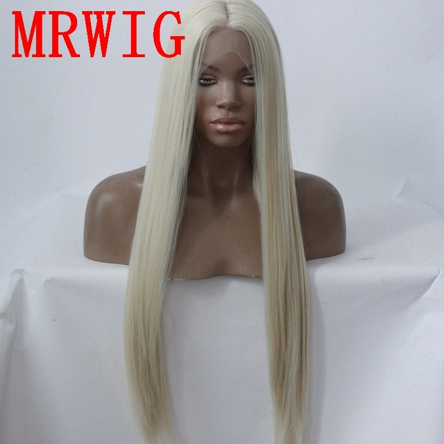 MRWIG long straight26in #613 middle part synthetic heat resistant fiber transparent lace synthetic fiber front lace wig