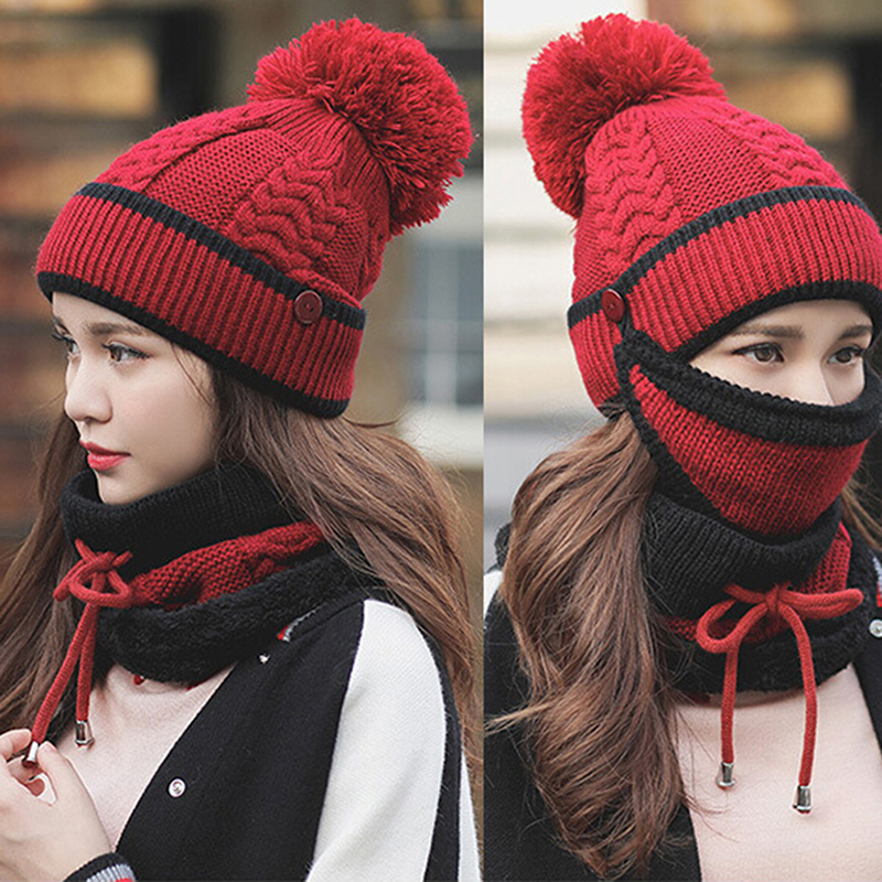 Bigsweety Vintage Winter Warm Women's Hat Caps Knitted Scarf Windproof Multi Functional Hat Scarf Set Clothing Accessories Suit