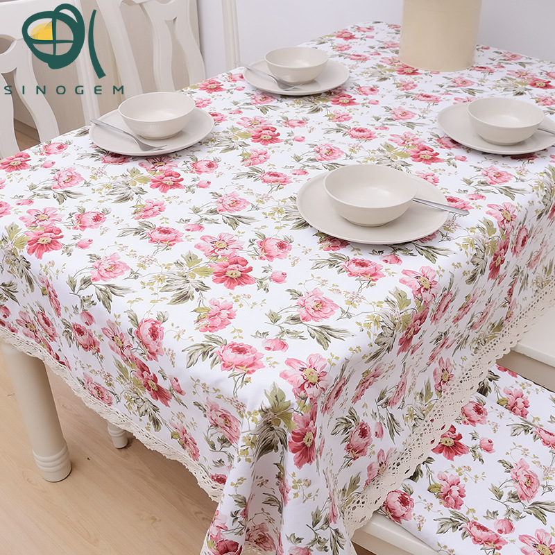 Pink Roses Romantic Spring The Hotel Tablecloths Printed Cotton Lace  Tablecloth Manufacturer To Customize(China