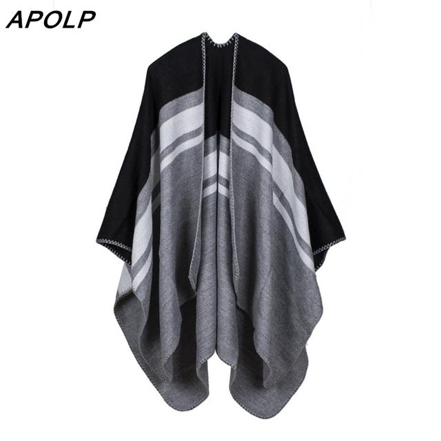 APOLP Marca Inverno Cobertor Xadrez Cachecol Ponchos E Capas Das Mulheres Imitação Cashmere Xales Estolas Pashmina Envoltório Scarve Moda