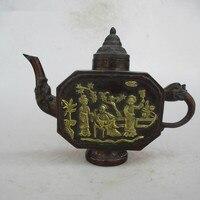 Китайский Старый фиолетовый медный резной 3 женщин чайник/Искусство горшок ремесло для домашнее животное античный коллекция