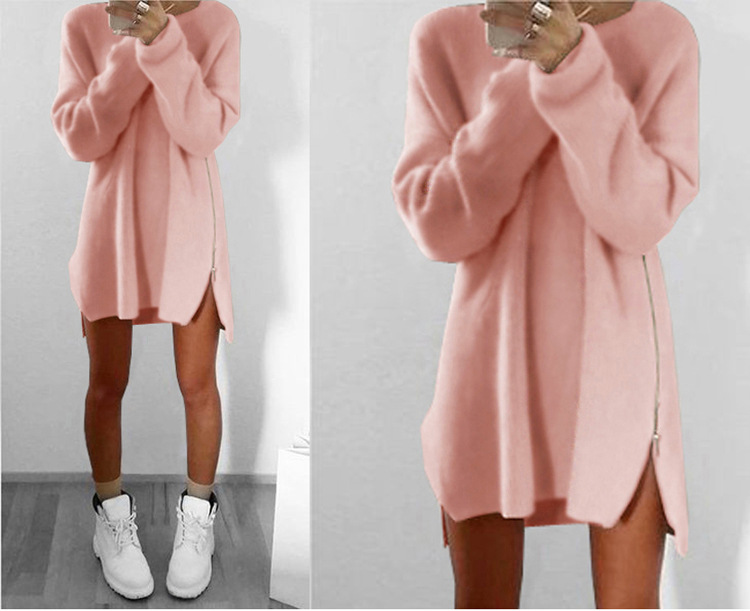 Beautiful Girl Autumn Winter Sweater Knitted Dress Women Tunic Casual Zipper Boho Dresses Runway Hippie Chic Clothes Plus Size