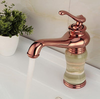 Euro Luxury Style Bathroom Rose Gold finish Basin Faucet / Brass Mixer tap With marble base /Sink Mixer water Tap