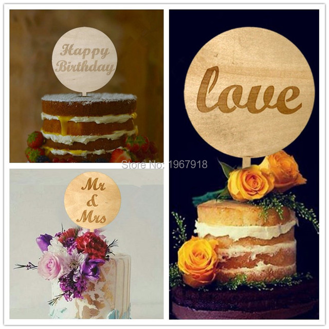 Free Shipping Rustic Wooden Round Happy Birthday Cake Topper Rustic