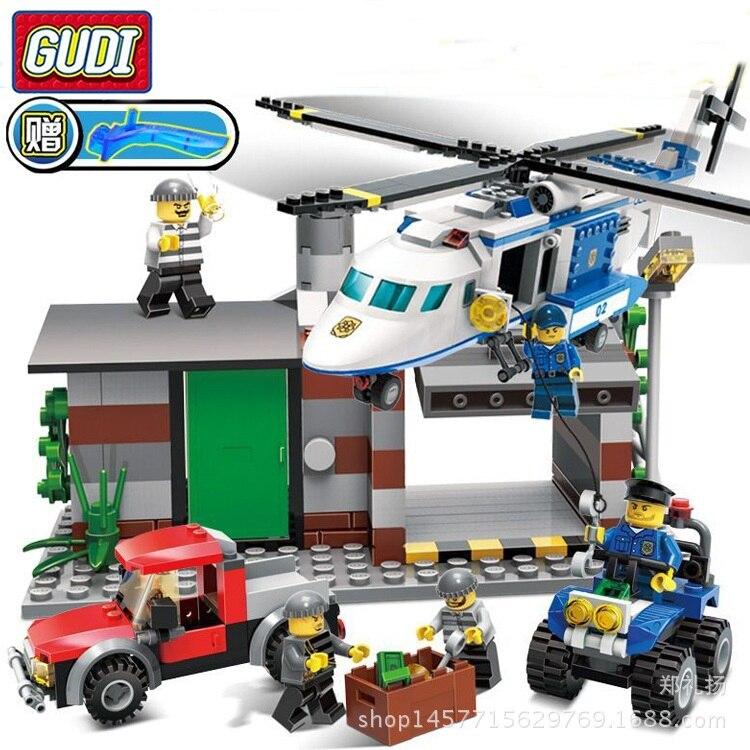 Ville camion voiture hélicoptère blocs de construction assemblé policier Gangster poupée maison bricolage modèle jouets brique garçon enfant Gi