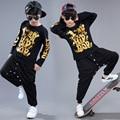 2017 Moda Muchachos Fijados Ropa de Hip-Hop Hiphop Jazz Etapa Niñas Juego de los deportes Del Niño Shou Chándales Para Niños Arropa Los Sistemas 3-16 T