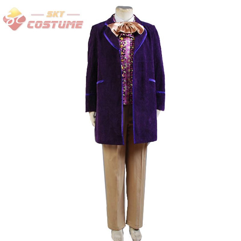 Willy Wonka Charlie and the Chocolate Factory Purple Trench Coat Vest Bow Tie Pants Full Set For Men Halloween Cosplay Costume