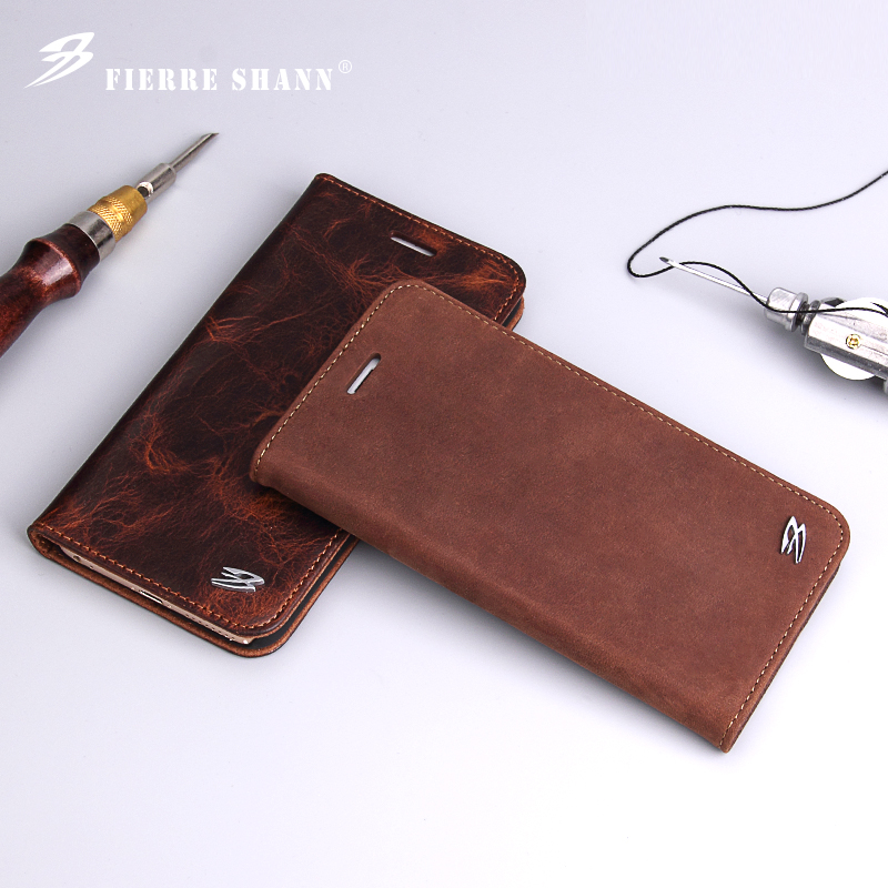 Lyxig äkta läder Retro Flip mobiltelefon fodral Coque för iPhone 8 - Reservdelar och tillbehör för mobiltelefoner