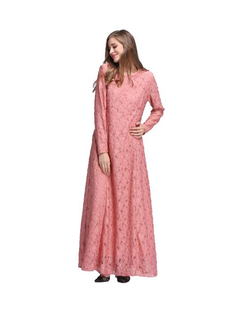 Fashion Women Lace Abaya muslim full lace long dress with pocket women's top Instant Hijab Bodycon Vestido size M L XL