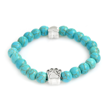 New Retro Natural Stone Dog Paw Bracelet Buddha Beads Bracelet Elastic Charm Rope Bracelet Wholesale Pet Jewelry  buddhist rope bracelet