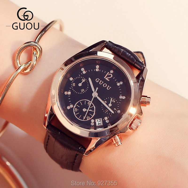 2018 New Female GUOU Watches Fashion Women Casual Waterproof Six-pin Calendar Quartz Watch Lady's Dress Watches relogio feminino fashion women calendar rose gold quartz watch luxury brand guou six pin retro big dial female multifunction waterproof clock