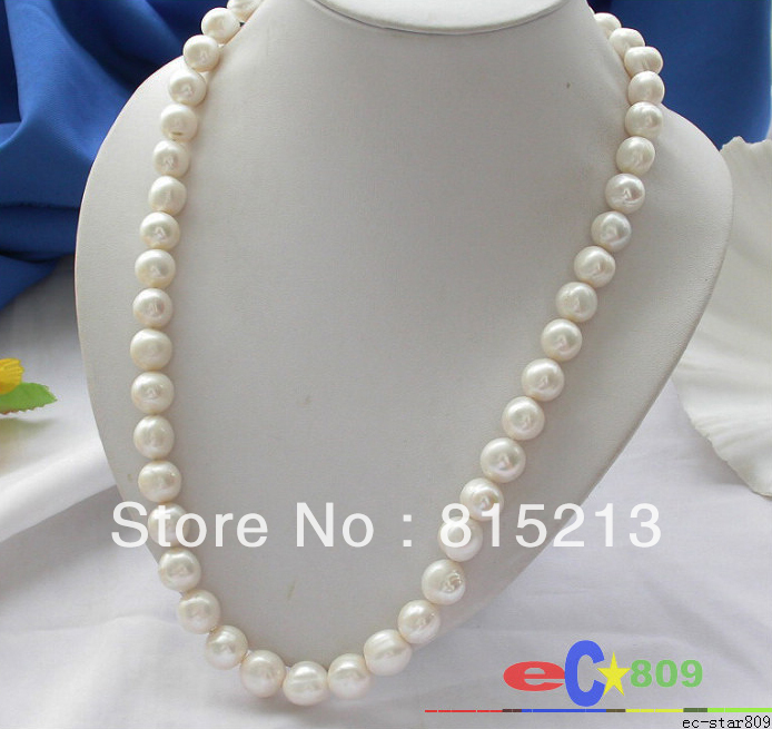 ddh001216 14MM WHITE ROUND FRESHWATER CULTURED PEARL NECKLACE 925SC