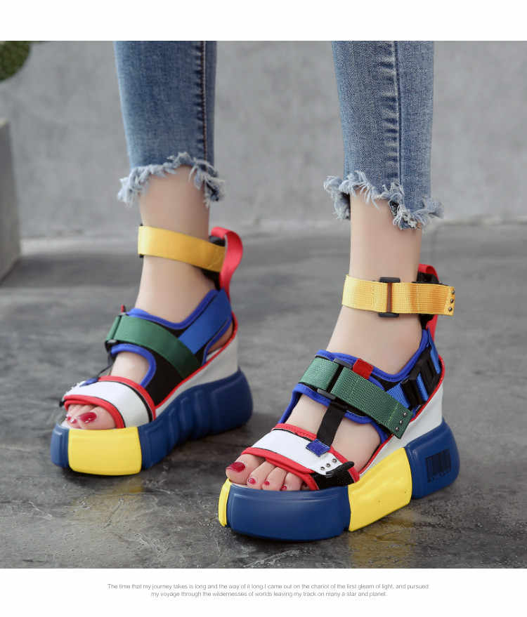 97f7b297826f1 SWONCO Platform Sandals Women Summer Shoes 2019 Female Casual Shoes Wedge High  Top High Heel Chunky