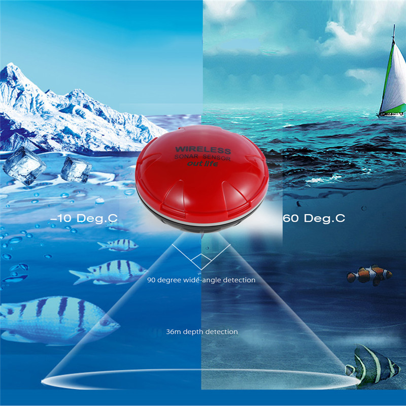 Outlife Portable Wireless Sonar Mobile Phone Fish Finder Smart Sonar Echo Bluetooth Depth Sea Lake Fish Finding for iOS Android portable fish finder bluetooth wireless echo sounder underwater bluetooth sea lake smart hd sonar sensor depth