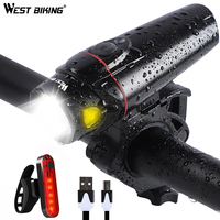 WEST BIKING Bicycle Light Set 350lm Induction Bike Headlight IPX5 Waterproof Torch For Cycling With Rear Back Warning Lamp