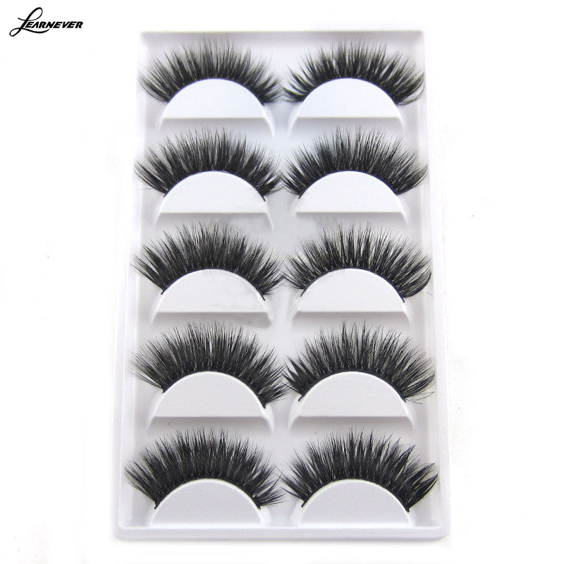LEARNEVER 5 Pairs/Set Luxurious 3D False Eyelashes Cross Natural Long Eye Lashes Makeup free shipping M02783