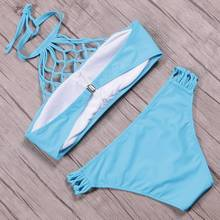 KayVis Sexy High Neck Bikinis Women Swimsuit 2019 Summer Beach Wear Swimwear Bandage Top Retro Bathing Suit Push Up Bikini Set