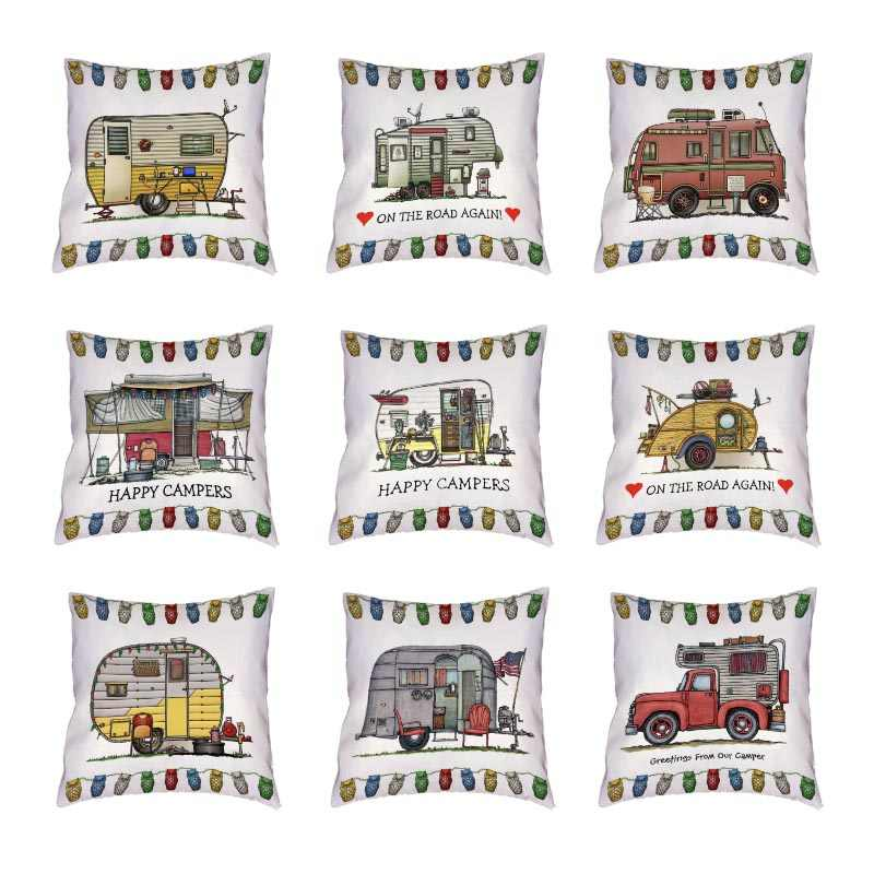 Śmieszne mobilne podróże białe poszewki na poduszki Happy Campers rzuć Pillow Cover Home Decor Outdoor Touring Cars Peach Skin poszewki na poduszki