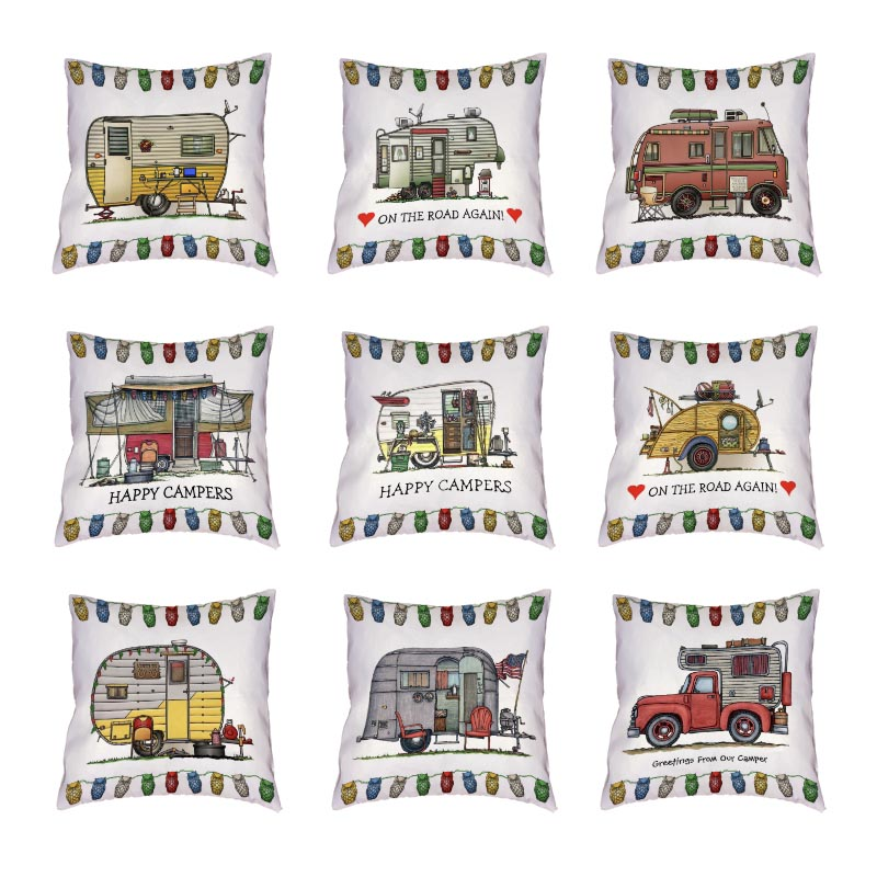 Funny Mobile Travel White Cushion Covers Happy Campers Throw Pillow Cover Home Decor Outdoor Touring Cars Peach Skin Pillowcases
