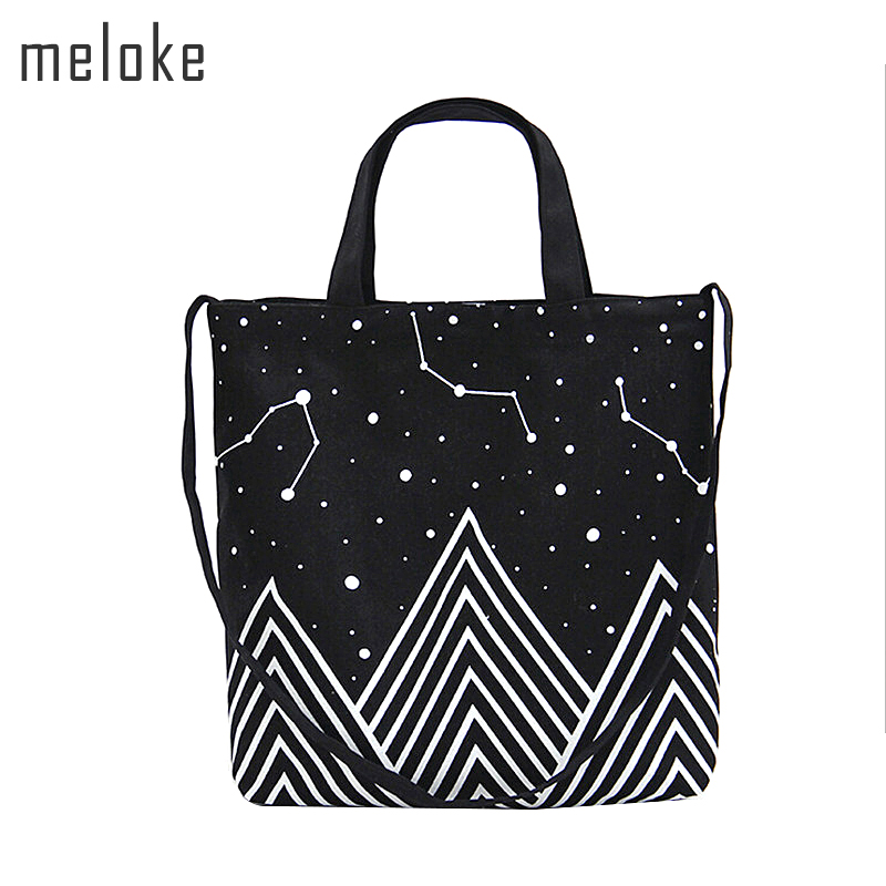 Meloke 2018 Starry Sky Canvas Handbags Tote Daily Female Totes Bolsa Stars Printed Shoulder Eco Bags travel bag MN673
