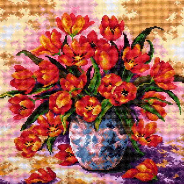 Vaso di Fiori Foamiran Needlework Dmc Beadwork 0240R-Piazza Diamante Mosaico Pittura di Diamante Del Ricamo a Punto Croce