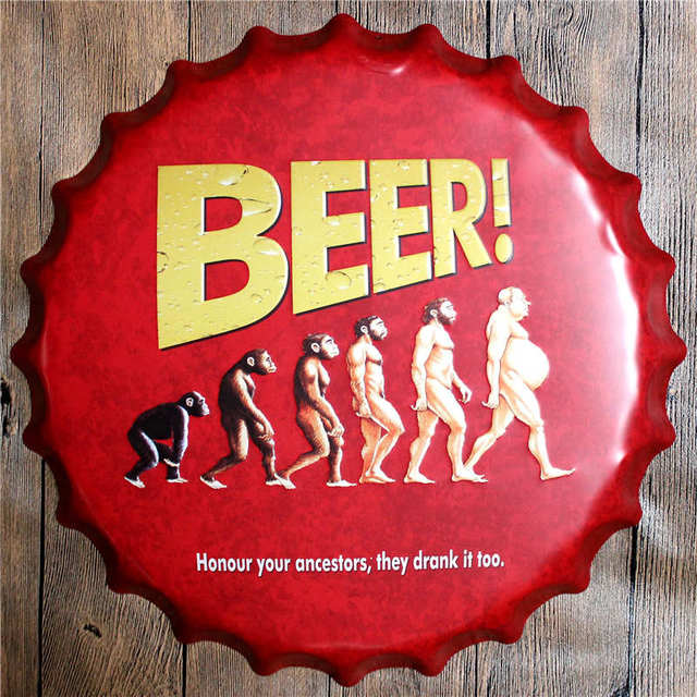 Bottle Cap Shaped Metal Sign