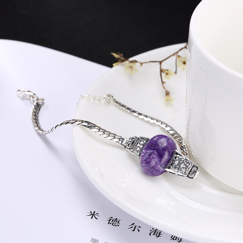 S925 pure silver natural purple dragon crystal retro Thai silver personality high grade lady Bracelet wholesale agent s925 pure silver personality female models new beeswax