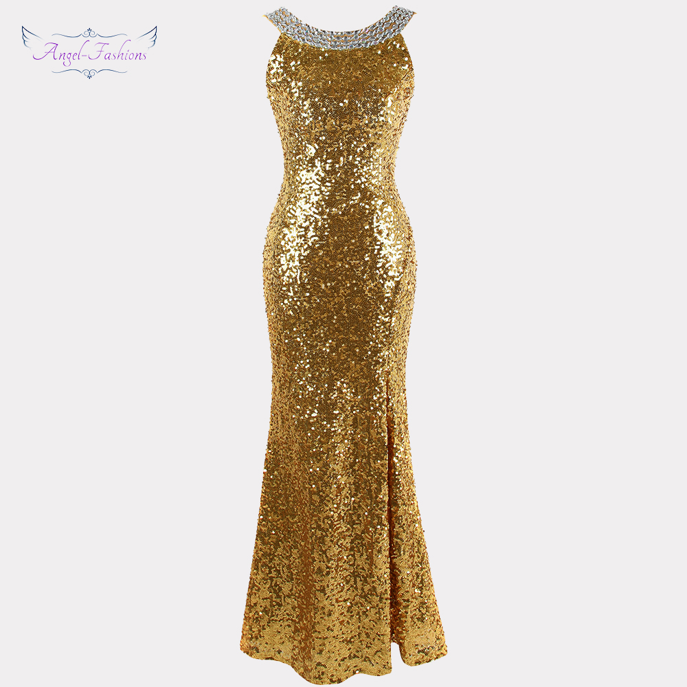 Angel-fashions 1920S Sequined Gatsby Party Gown Backless Split Long   Evening     Dress   abendkleider Gold 090