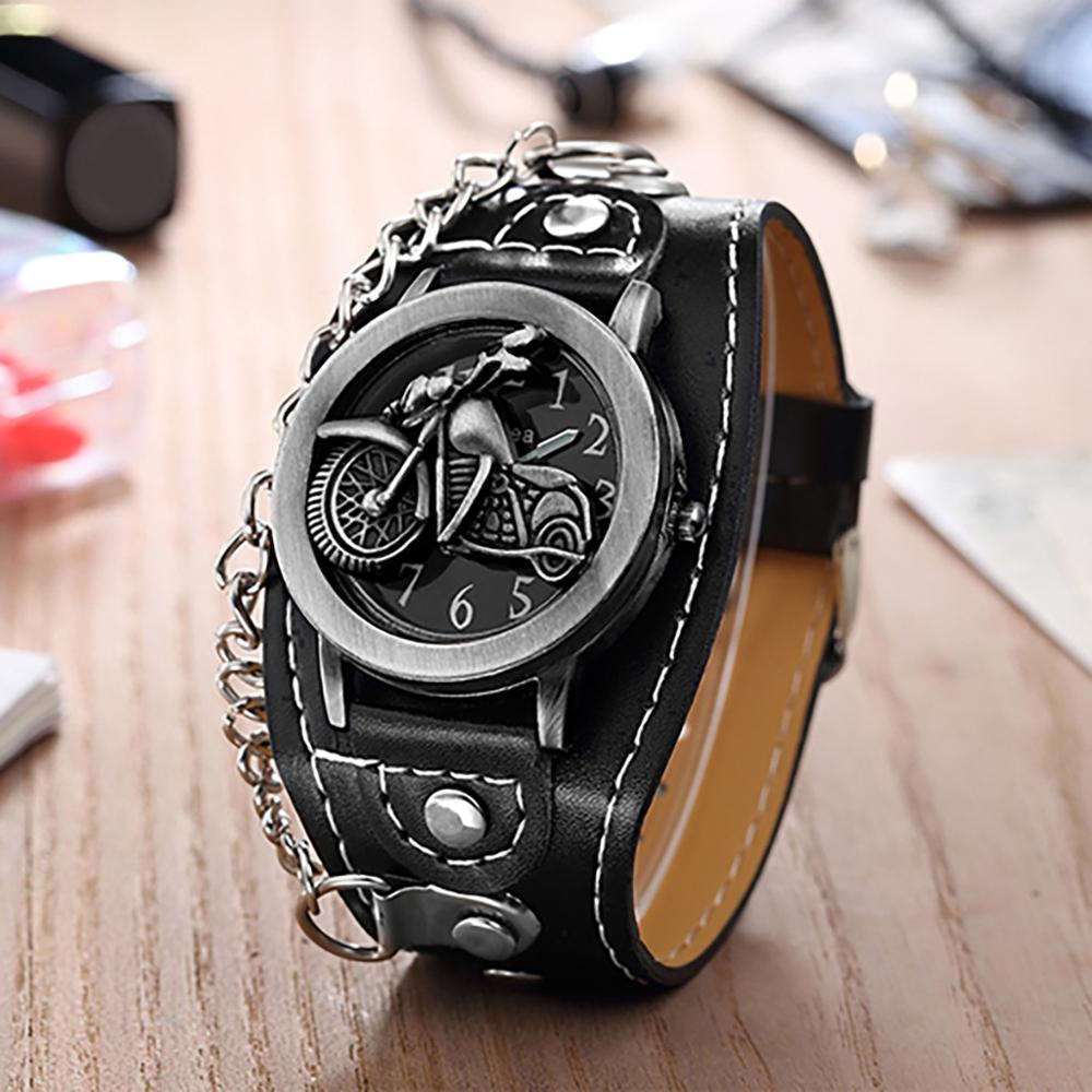 NEW Fashion Skull Cover Quartz Watch For Men Women PU Leather Wristwatches Bracelet Watch Men's Biker Metal Relogio Masculino